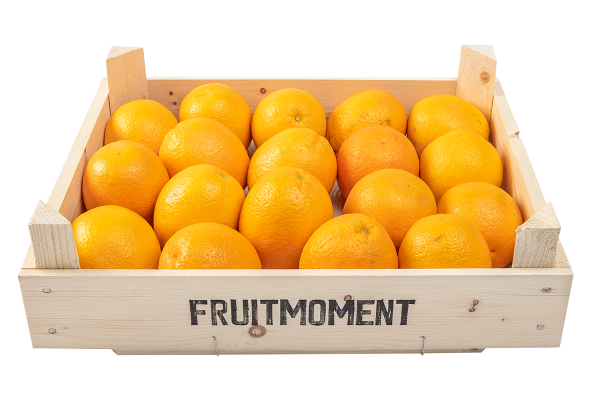 Fruitmoment krat met 18 sinaasappels